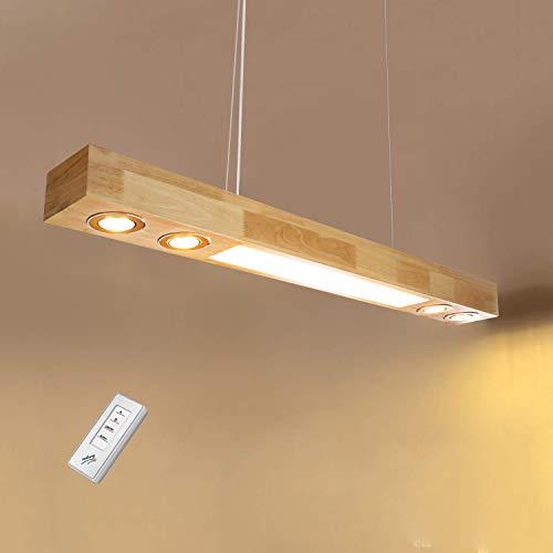 ZMH LED Pendelleuchte aus Holz Hängelleuchte esstisch Pendellampe Hängellampe mit Einbauspots für Küche/Wohnzimmer/Büro/cafe/Arbeitszimmer 3000K Warmweiss Licht