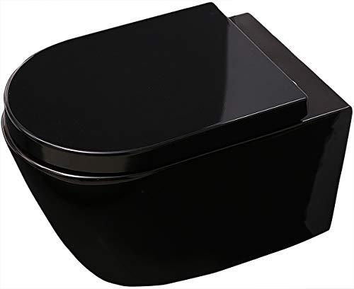 Bernstein Badshop Wand-WC B-8030 Schwarz Hänge-Toilette mit Nano-Beschichtung- inkl. Softclose-Deckel
