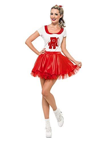 Luxuspiraten - Damen Frauen Cheerleader-Kostüm Grease Sandy mit Rock und Oberteil, perfekt für Karneval und Halloween, S, Rot
