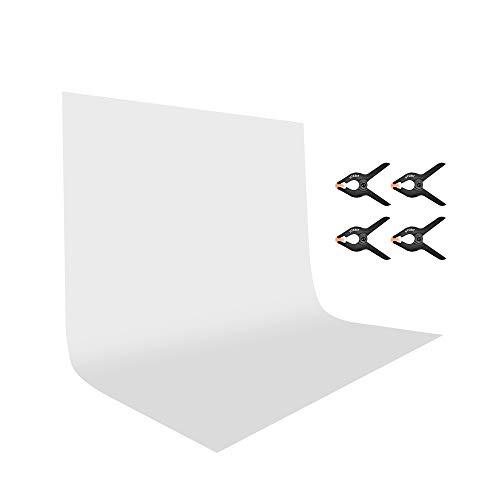 UTEBIT Fotografie Hintergrund Weiß 2x3m / 6.6x9.8ft Faltbare Fotoleinwand Fotostudio Kamera Hintergrund Background Fotohintergrund Widerstand Polyester mit 4 Klemmzwingen für Foto-Videofotografie