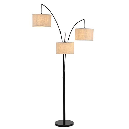 WINGBO Modern 81 in. Antique LED Trinity 3-Arc Floor Lamp with Knob Switch Multi Head Arching Tree Lamp for Mid Century, Modern & Contemporary Rooms
