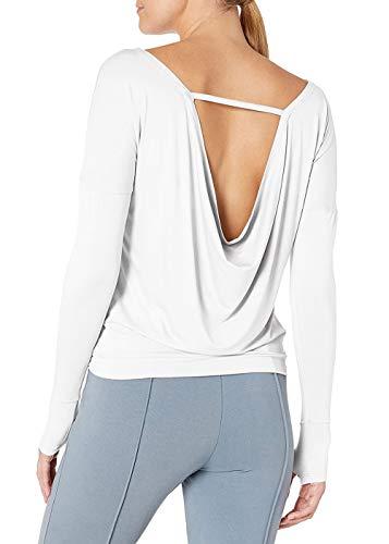 Bestisun - Camisa de manga larga para mujer, con espalda abierta, cuello de bote, cuello holgado, yoga, gimnasio, con agujeros para el pulgar - Blanco - Medium