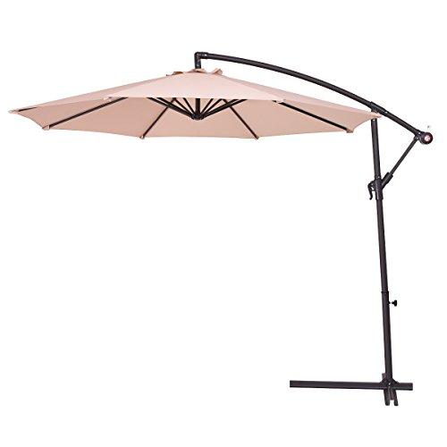 COSTWAY 2.7M Outdoor Parasol Sun Shade Cantilever Banana Hanging Umbrella...