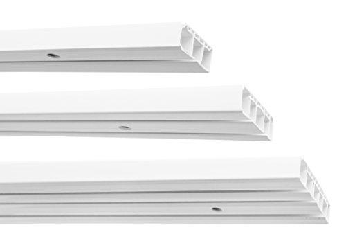Garduna | 150cm /3-läufig | Kunststoff Gardinenschiene Vorhangschiene, (1-/ 2-/ 3-läufig, Kunststoff, Weiss)