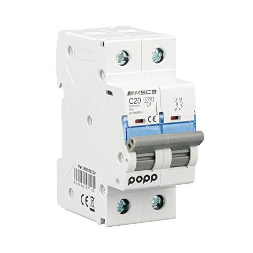 POPP® Interruptor Automático Magnetotérmico industrial CURVA C 1P 2P 3P + 6A 10A 16A 20A 25A 32A 40A 50A 63A … (2P, 25A)