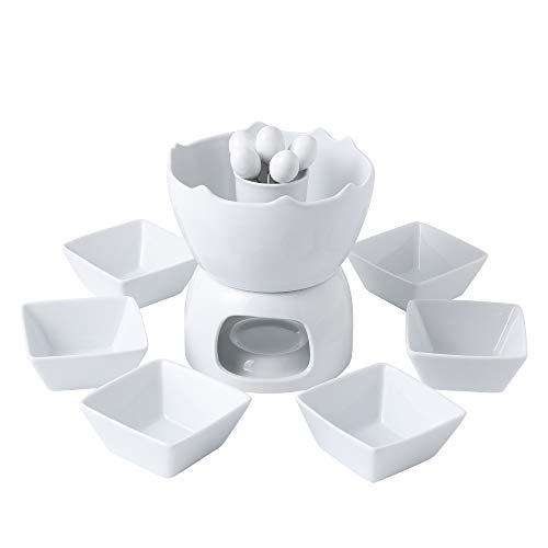 MALACASA, Serie Favor, Schokoladenfondue, Käsefondue, zWeißchichtig, elfenbeinWeißszlig, aus Keramik, Porzellan, mit Teelicht beheizt, Set mit 6Dip-Schälen und 6Gabeln