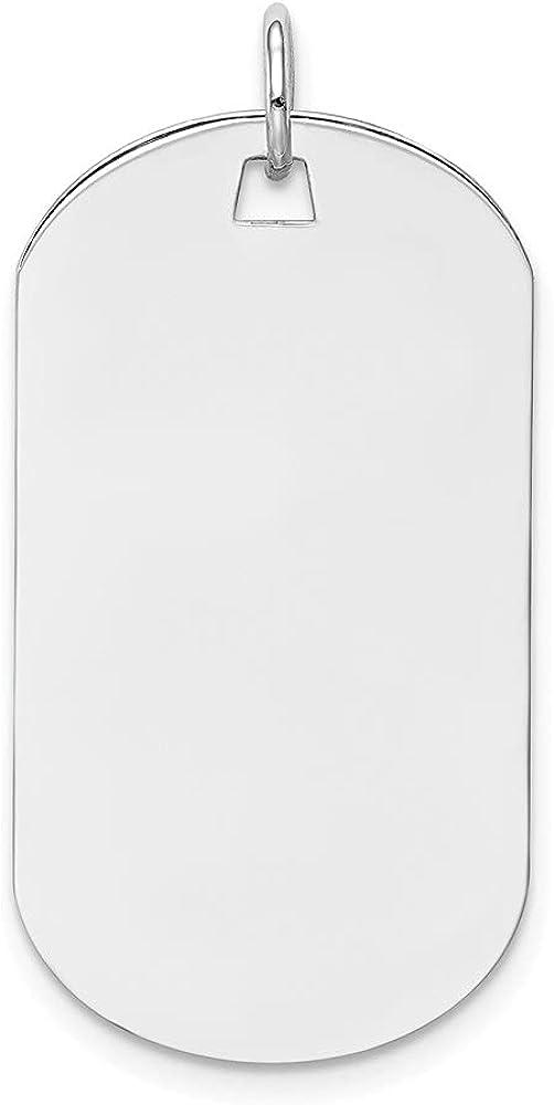 14k White Gold Plain .018 Gauge Engraveable Dog Tag Disc Pendant (L- 33 mm, W- 16 mm)