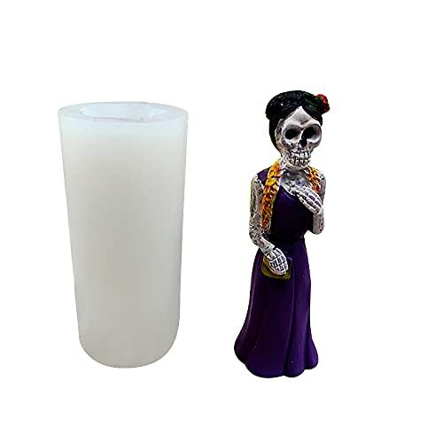 zhaibiao-us Molde de silicona para vela de Halloween, diseño de esqueleto de zombi, para hacer velas, velas perfumadas, para hacer jabón, manualidades