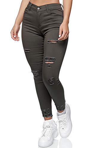 Elara Damen Jeans High Waist Destroyed Chunkyrayan YH 540 Olive-48 (4XL)