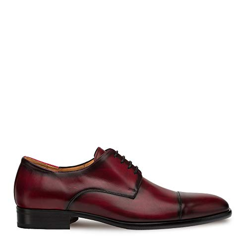 Mezlan Republic - Mens Luxury Dress Shoes - European Calfskin with Hand Finishes - Handcrafted in Spain - Medium Width (Burgundy, 9)