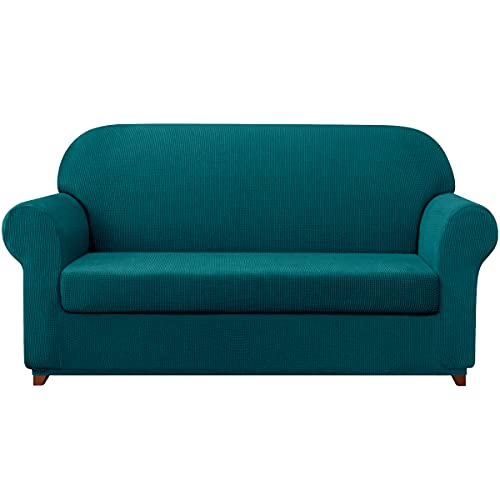 subrtex Sofa Cover 2 Piece Stretch Sofa Slipcover Soft Couch Slipcovers Washable Furniture Covers, Jacquard Fabric Small Checks(Turquoise,Medium)