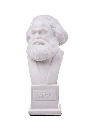 Deutscher Philosoph Sozialist Karl Marx Marmor Büste Statue Skulptur 12,5 cm weiß