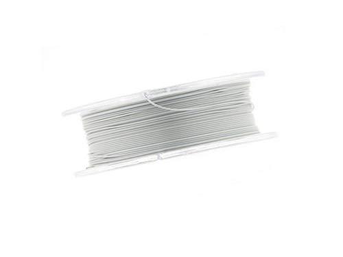Schmuckdraht, Edelstahldraht, Stahlseil, 0,4mm, für Kette, Armband, nylon ummantelt hautverträglich reißfest, 10m Rolle pearl silver zum Schmuck selbst machen
