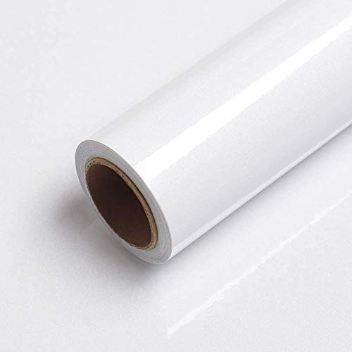 Weiß Uni Glanz Tapete Selbstklebend Möbelfolie 40X200cm Wasserdicht Wandaufkleber Weiß mit Glitzerpartikel Folie Glanz Modern Glatt Weiss Küchenfolie Tisch Schrank Glas Möbel Vinyl Oberflächenschutz