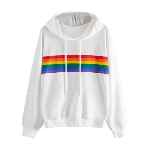 Sweat à Capuche Femme Pas Cher A La Mode Manches Longues Sweat Shirt Rainbow Rayure Pull A Capuche Tops Sweat Hoodies Veste De Sport