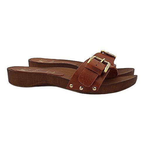 Kiara Shoes Zoccoli con Fascia Regolabile in Cuoio | Comode e Made in Italy - MY156 Cuoio (Marrone, Numeric_36)