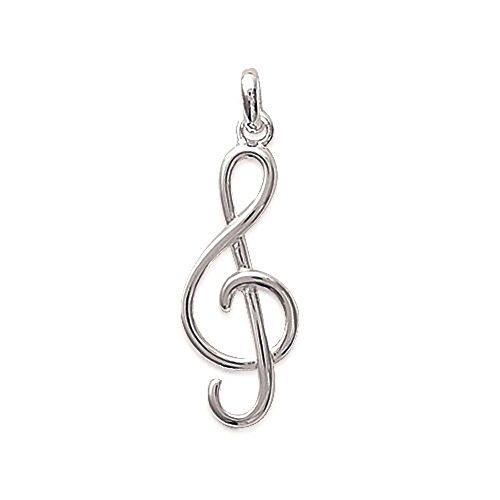 1001 Bijoux - Ciondolo a forma di chiave di violino, in argento