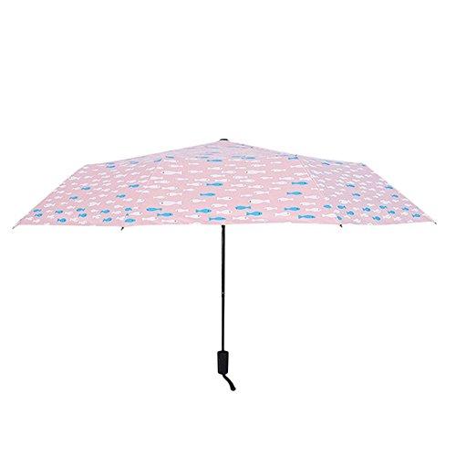 Demarkt Mini Paraguas con Bolsa de Paraguas, Pequeño Pescado Estampado, Anti-UV Paraguas,...