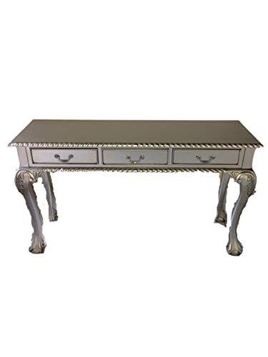 Chippendale Barock Louises Rokoko Sekretär Farbe: Silber Schreibtisch Schminktisch Länge135xHöhe76xBreite43cm Nr.2