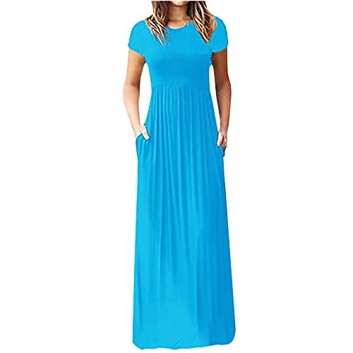 Vestido de cóctel para mujer con cuello en V, sexy, espalda abierta, largo hasta la rodilla, vintage, bohemio, para verano, manga corta, con bolsillos, vestido largo.