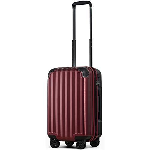 スーツケース 機内持込 300円コインロッカー 軽量 8輪 ダブルキャスター TSAロック ss s 小型 ハードキャリー ファスナータイプ キャリーバッグ キャリーケース (Sサイズ(機内持込36L〜40L), ワインS)