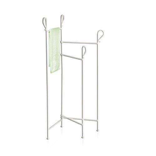 MONTEMAGGI Porta asciugamani da terra in ferro bianco anticato. In stile shabby, portasciugamani a ventaglio chiudibile e decorato. Dimensioni: 44x39x109 cm