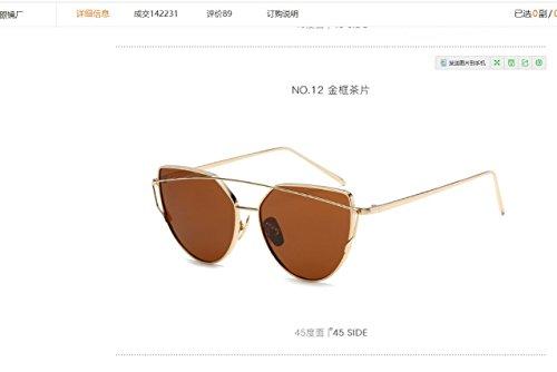 Lunettes de soleil rétro en métal anti-ultraviolets + lunettes (couleur : marron)