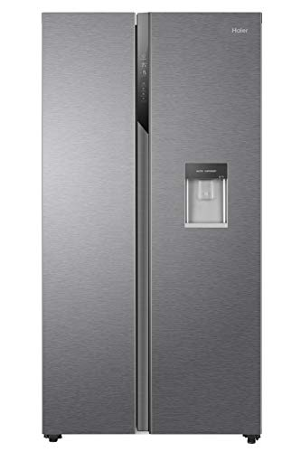 Haier HSR3918EWPG Freestanding American Style Side By Side Fridge Freezer with Non-Plumbed Water Dispenser, 521L Capacity, A++ (E) Energy Rated - Silver
