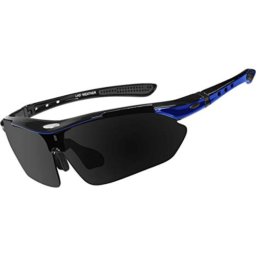 [ラドウェザー]サングラス メンズ 偏光レンズ 12点セット 滑り止め 衝撃吸収 汗止め ネックストラップ (青)