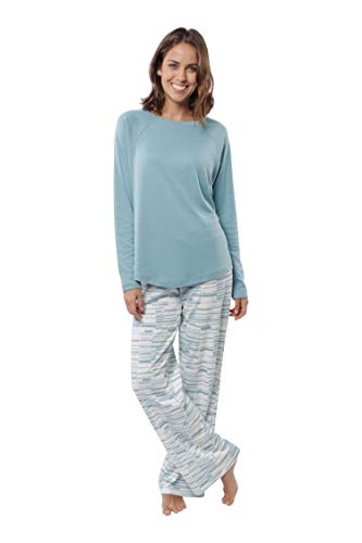 jijamas Soft Pima Cotton Women's Pajama Set 'The Therapist',Caribbean Blue,X-Large