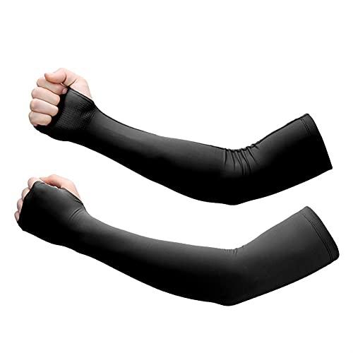 Unisex Radfahren Und Laufen UV-Sonnenschutz Outdoor Herren Armmanschette (Color : Black, Size : One size)