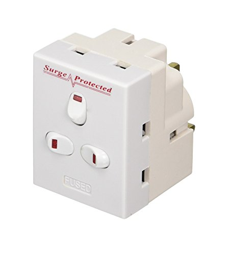 Invero 3 Way UK Mains Extension Switched 13A Adapter Plug Individually Triple Neon Switched Block Socket Splitter Surge Protected - White