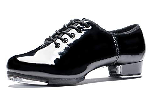 BeiBestCoat Split Sole Tap Shoes Patent Leather Dancing Shoes for Women, Black (11 B(M) US)