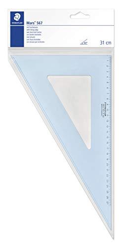 STAEDTLER Mars 567 31 Plexiglas Zeichendreieck, 32 cm, 60°/30°, blau/transparent