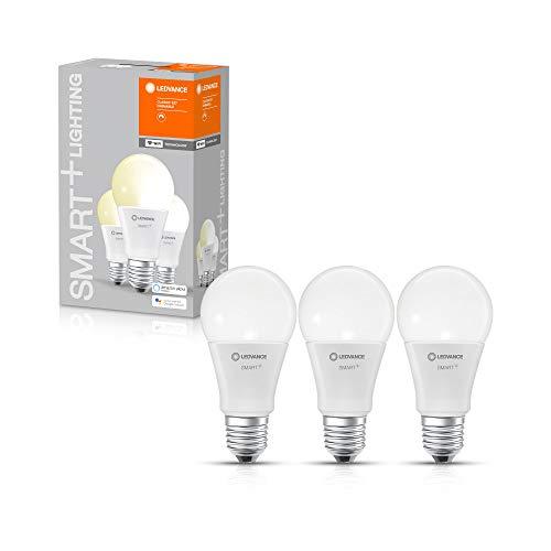 LEDVANCE Lampada LED intelligente con tecnologia WiFi, attacco E27, dimmerabile, bianco caldo (2700 K), sostituisce le lampade a incandescenza da 60W, SMART+ WiFi Classic dimmerabile, confezione da 3