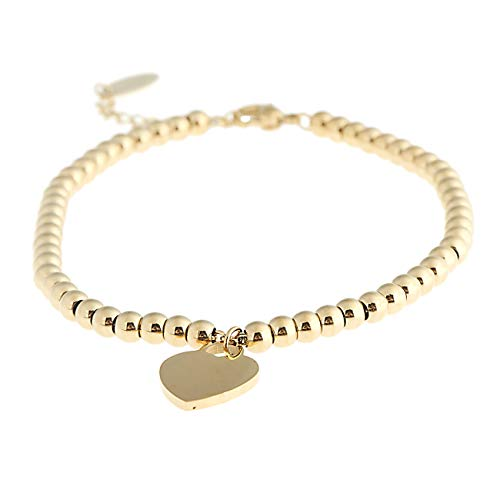 Inscintille Sparkling Heart Rock Ball Bracelet in Gold Steel with Smooth Heart