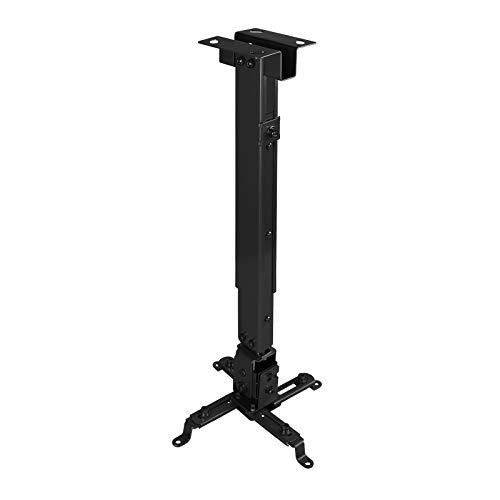 TooQ PJ2012T-B - Soporte de techo inclinable y regulable para proyector, (hasta 20kg de peso, ajustable en altura desde 130 mm hasta 650 mm, inclinación +/-15º, color negro