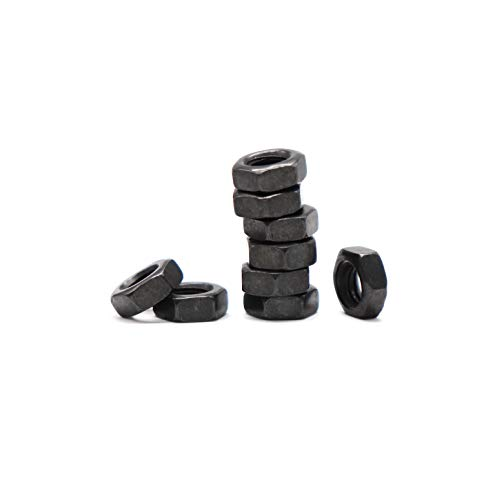 binifiMux 60pcs M4 Black Hex Nuts Pitch 0.7mm Carbon Steel 8.8 Grade