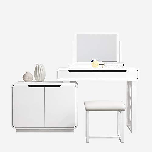 SXNYLY Frisierkommode einfacher modernen integrierten Speicherschrank Massivholztisch, Zwei Schubladen, mit KOT, Lagerung und Konservierung einziehbare Tabelle Vorbereitung (Größe : B)