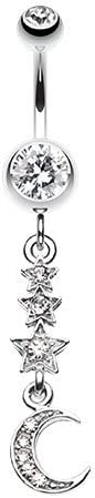 WildKlass Jewelry Beaming Stars and Moon 316L Surgical Steel Belly Button Ring