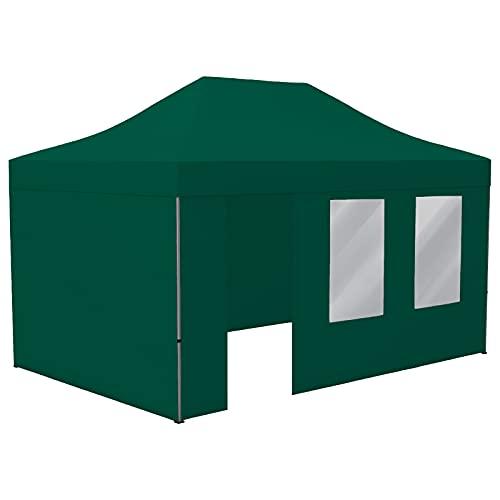 Vispronet Profi Faltpavillon Basic 3x4,5 m in Grün, Stahl-Scherengitter, 4 Seitenteile - Davon 1 Wand mit Tür & Fenster (weitere Farben & Größen)