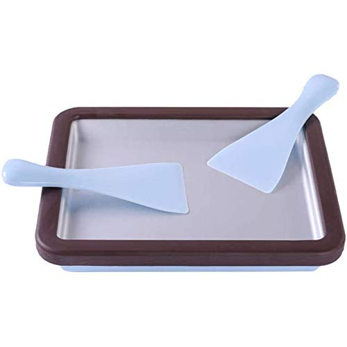Roll Ice Cream Machine, Rechthoekige Cre Am Ice Tray met 2 ijslepels, Fried Ice Tray Fried Yoghurt Machine (29x24x5 CM),Black