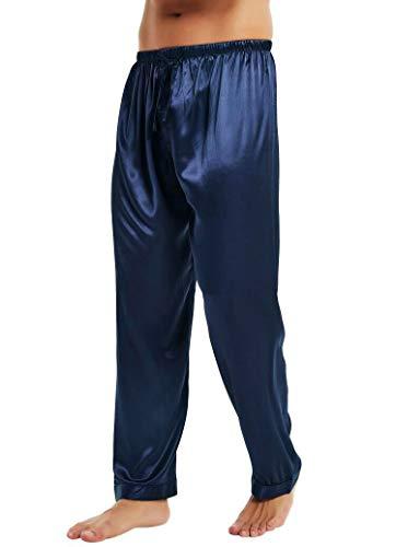 Lonxu Mens Silk Satin Pajamas Pyjamas Pants Sleep Bottoms Navy Blue XL
