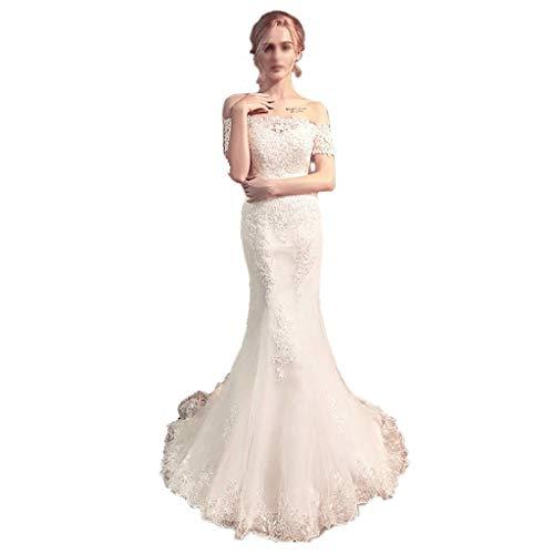 Bruidsjurk Voor altijd Lange Jurk Strapless Mouwloos Kant Avondjurk Fishtail Jurk Chiffon Bruidsjurk
