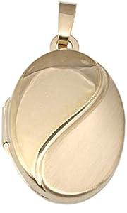 Medaillon Gold 375 oval 9 kt Anhänger mattiert Gelbgold 9 karat