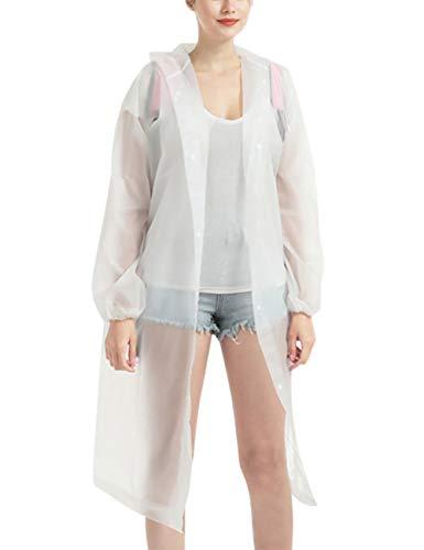 HIDARLING Regenponcho voor vrouwen en mannen Herbruikbare transparante regenjas met capuchon voor wandelen/kamperen/reizen