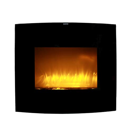 """Caesar Electric Fireplace Stove with Heater, Embedded Curved Glass Insert Fireplace for Living Room w/Remote and Temperature Settings,750/1500W, Wall Mount/Freestanding, WFP-26C, Black, 26"""""""