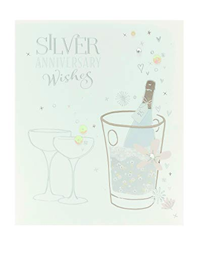 Tarjeta de aniversario para 25 aniversario de boda, diseño de champán de plata