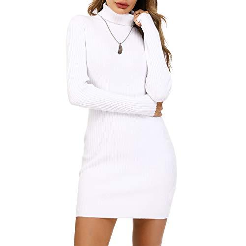 Irevial Vestido Punto Mujer Invierno, Vestido Suéter Mujer Manga Larga de Cuello Alto, Vestido Fiesta Mujer Elegante Casual Blanco-S