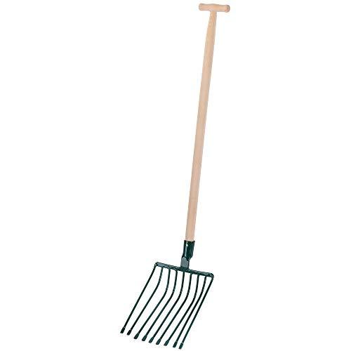 KADAX Steingabel, Forke mit langem Holzstiel, 9 Zinken, Spatengabel, Heugabel, Grabegabel, Mistgabel aus Stahl, Gabel für Stein, Garten, Kartoffelgabel, Gartengabel (T- Griff)